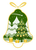 Christmas bell. Christmas tree with gifts and flying comet in bell isolated on white background Stock Images
