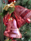 Christmas Bell. Two red christmas bells, whick hang up Stock Photo