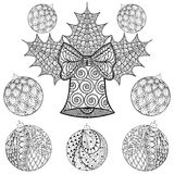 Christmas Bell with balls in zentangle style. Freehand ethnic Xmas sketch for adult coloring book. Ornamental artistic vector ill royalty free illustration
