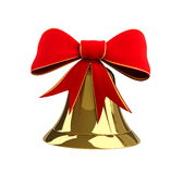 Christmas bell with a bow. On a white background Royalty Free Stock Image
