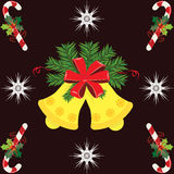 Christmas Bell and Candy Stick Stock Images