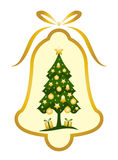 Christmas bell with Christmas tree decor royalty free illustration