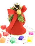 Christmas bell and confetti Royalty Free Stock Photo
