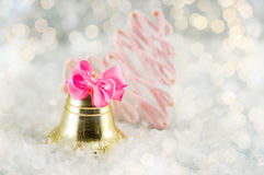 Christmas bell decoration with festive lights Stock Photos