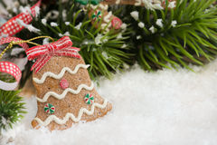 Christmas bell decoration in the shape of cookie Stock Image