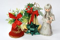 Christmas bell and fairy Stock Photos