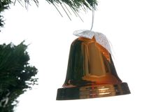 Christmas bell in fir. Isolated on white Stock Photos