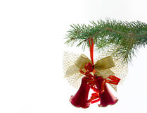 Christmas bell on fir-tree. On white background stock image