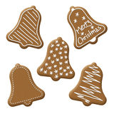 Christmas bell gingerbread. With white sugar topping Royalty Free Stock Image