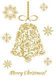 The Christmas bell with gold glitter from a floral ornament on a white background. Suitable for greeting card, banner, poster royalty free illustration