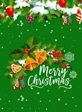 Christmas bell greeting card for winter holidays. Christmas bell greeting card of winter holidays. Holly berry and Xmas tree garland with gold bell, ball and Stock Images