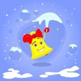 Christmas Bell Hang on Icicle Smile Cartoon Stock Image