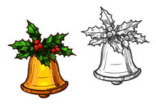 Christmas bell with holly isolated sketch icon Stock Photo
