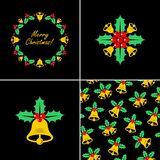 Christmas bell with Holly. Vector illustration. Christmas bell with Holly. Christmas bell icons. Seamless christmas pattern with bell and Holly. Vector vector illustration