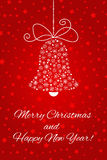 Christmas bell made from snowflakes. For postcard, banner, poster, invitation, etc. Christmas bell made from snowflakes. For postcard, banner, invitation and Royalty Free Stock Photos