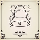 Christmas bell ornament card Royalty Free Stock Images