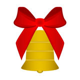 Christmas bell with red bow Royalty Free Stock Images
