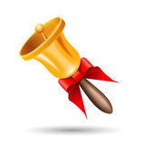 Christmas bell with a red bow Royalty Free Stock Image