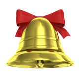 Christmas bell with red ribbon Stock Image
