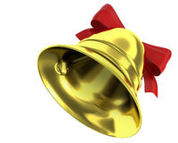 Christmas bell with red ribbon Royalty Free Stock Images