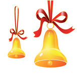 Christmas bell with red ribbon Royalty Free Stock Photos