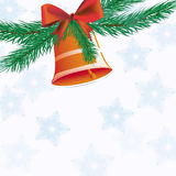 Christmas bell with ribbon Royalty Free Stock Photo