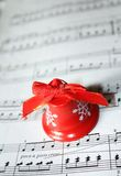 Christmas bell with sheet of note paper Royalty Free Stock Photos