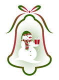 Christmas bell with snowman decor Stock Photography