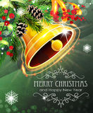 Christmas bell with sparkles and fir branches Royalty Free Stock Photography