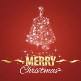 Christmas bell symbol stardust red background. Vector Stock Images