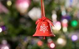 Christmas bell with tree on background 2 Royalty Free Stock Photos
