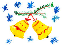 Christmas bell on tree with snowflakes. Child drawing. Royalty Free Stock Image