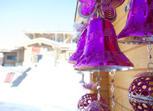 Christmas bell under roof Royalty Free Stock Photography