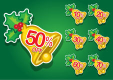 Christmas Bell vector discount stickers Royalty Free Stock Photography