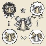 Christmas bell vintage symbol emblem label Stock Image