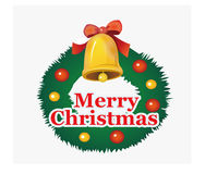 Christmas bell, wreath, colored ball stock photo