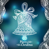 Christmas Bell  in Zen-doodle style  on blur background in blue Stock Photography