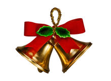 Christmas Bells. Two Christmas flake bells with red ribbon Stock Images