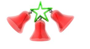 Christmas Bells. Three red Christmas bells and a green star Royalty Free Stock Image