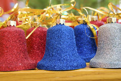 Christmas bells. Christmas red blue silver bells Stock Image