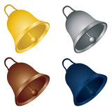 Christmas bells. Set of four christmas bells of different colors Stock Photography