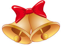 Christmas bells. Vector illustration shows the Christmas bells with bow stock illustration