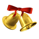 Christmas bells. 3d colorful Christmas bells with red ribbon isolated over white background Royalty Free Stock Photos