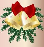 Christmas bells. Isolated two Christmas bells on the background of a Christmas tree branches, decorated with big red bow royalty free illustration
