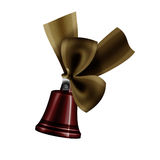 Christmas Bells. Illustration of a lovely shinny bell and tied with ribbon Stock Photo