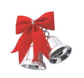 Christmas bells. Two christmas silver bells with red slip-knot Stock Photo