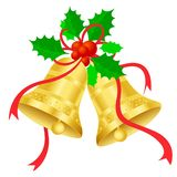 Christmas bells. Golden Christmas Bells with red ribbon and holly and berries isolated on white background. illustration Stock Photos