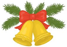 Christmas bells. Christmas decoration: golden bells with red bow and green fir branches Royalty Free Stock Photo