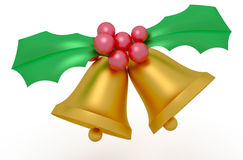 Christmas Bells. Golden Christmas Bells with berries isolated on white background royalty free illustration