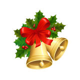 Christmas bells. Vector illustration of the Christmas bells with a red ribbon and Holly leaves Stock Image
